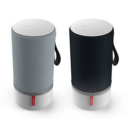 Libratone ZIPP 2 MultiRoom Bundle 2 Stück Smart Wireless Lautsprecher (Alexa Integration, AirPlay 2, MultiRoom, 360 Sound, Wlan, Bluetooth, Spotify Connect, 12 Std. Akku) Stormy black und Frosty grey