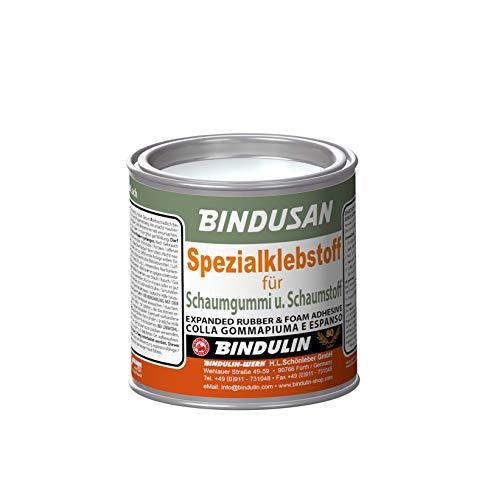 BINDUSAN von Bindulin Spezialklebstoff für Moltopren Schaumgummi Schaumstoff mit Holz Metall Stoff Pappe - Kleber Verklebungen sind weich, hochelastisch, wasser-, öl- und säurefest 200g