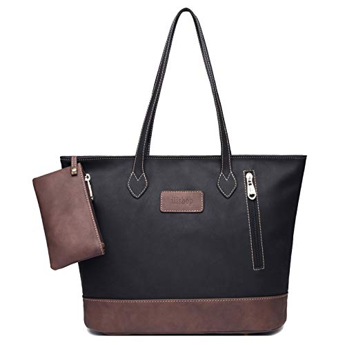 ilishop Women's PU Leather Tote Handbag Contrast Color Shoulder Bag (Black)