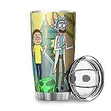 Generic - Tazza da caffè in acciaio inox, con marchio Rick and Morty, idea regalo per amici, per casa, ufficio, scuola, esterno, 600 ml, colore: bianco