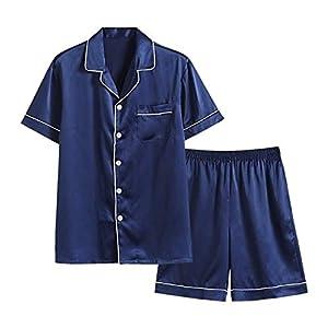 パジャマ メンズ 半袖&短ズボン 夏用 上下セット ルームウェア シルクようなタッチ 前開き 衿付き 胸ポケット付き 薄手 通気 吸汗 冷感 光沢あり シンプル 快適 肌に優しい 部屋着 寝間着 (XL, ネイビー)