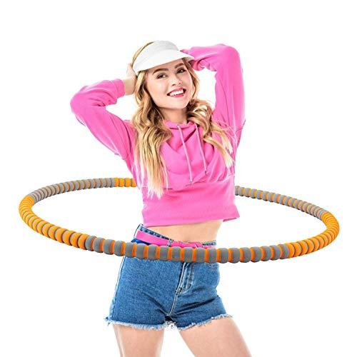 Creatck Hula Hoop Reifen Die Zur Gewichtsreduktion und Massage Verwendet Werden KöNnen,6 Segmente Abnehmbarer Hoola Hoop Reifen Geeignet Für Fitness/Sport/Zuhause/BüRo/Bauchformung (Orange)