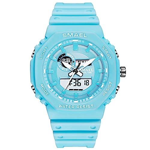 QZPM Relojes Deportivos Digital para Hombre, con Retroiluminación Alarma 50M Resistente Al Agua Multifuncional Grande De La Cara Militar Relojes Electrónicos,Azul