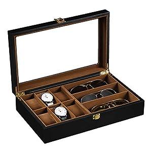 ウォッチボックス 6桁ウォッチ3桁メガネケースマットは、ウォッチケースペイントスプレー メンズおよびレディースウォッチ用 (Color : Black, Size : One size)