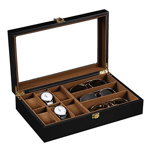 KDOAE Uhrenbox 6 Digit Uhr 3 Digit Brillenetui Matte Sprühfarbe Uhrgehäuse Mann, Frau, Dame (Color : Black, Size : One Size)