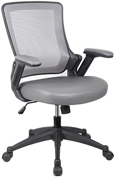 RTA 8030 GRY Height Adjustable Arms Mid Back Mesh Task Office Chair 25 W X 25 D X 34 H Gray