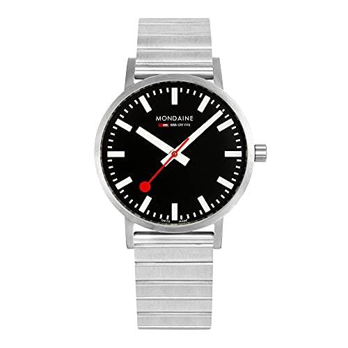 MONDAINE Reloj clásico de pulsera de acero inoxidable con esfera negra A660.30360.16SBW