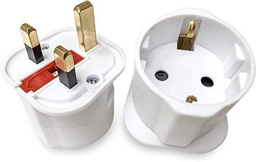 Gadgets Hut UK - 2 Reiseadapter für Schukostecker, für EU-Reisende in Großbritannien, Wechselstromadapter, europäische 2-polige Stecker auf britische 3-polige Buchsen, Weiß