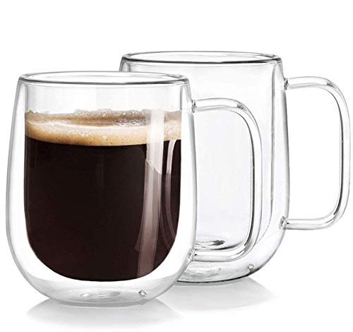 GBESTE - Juego de 2 tazas de cristal aisladas de doble pared de 300 ml, resistentes al calor, para bebidas frías y calientes, café, té, espresso, capuchino, latte