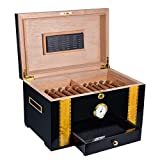 Volenx Cigar Humidor, Luxury Cigar Storage Box with Humidifier and Hygrometer, Spanish Cedar Wood Interior Desktop Humidor Case with Lock and Drawer, Holds 100 Cigars