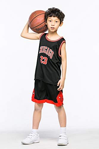MULANKA Kinder NBA Trikot Michael Jordan 23 Trikot Chicago Bulls Trikot Kinder #23 Basketball Trikot atmungsaktive, verschleißfeste,Schwarz Basketball Spieluniform