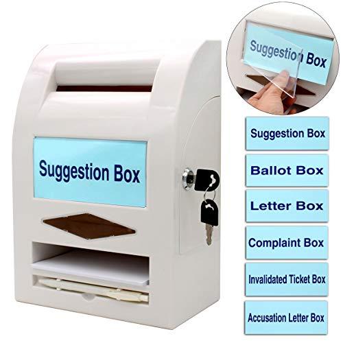 Urna per votazioni , Casella dei suggerimenti, casella per le donazioni, casella di posta, casella dei commenti, blocco e penna per muro o piano di lavoro, 6 etichette sostituibili