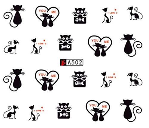 Stickers pour les ongles Stickers eau Sweet Love Cat Nail Sticker Curseur Art design Décoration Manucure Feuille Adhésif Wraps