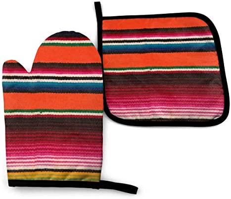 Oven Mitts and Pot Holders Set Mexican Serape Style Washable Heat Resistant Kitchen Non Slip product image