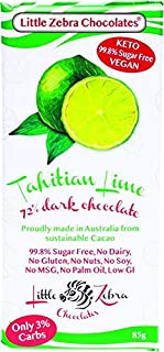 Little Zebra Chocolates Tahitian Lime Dark Chocolate Bar, 85 g