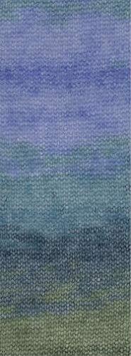 Lana Grossa - Silkhair Print -Fb. 367 Petrol/dunkelblau/Khaki/Azur/türkis 50 g