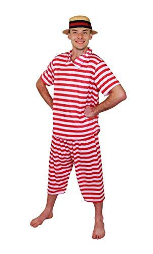 I LOVE FANCY DRESS LTD Disfraz DE BAÑISTA DE LOS AÑOS 20 para Adultos Conjunto TEMATICO para Adulto con Camisa, Pantalones Y Sombrero Fiestas TEMATICAS O Carnaval (XL)