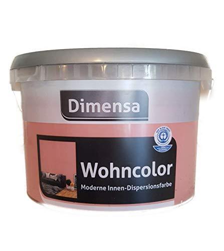 Dimensa Wohncolor Wandfarbe Moderne Innen- Dipersionsfarbe Matt Farbwahl 2,5 Liter, Farbe:Rose
