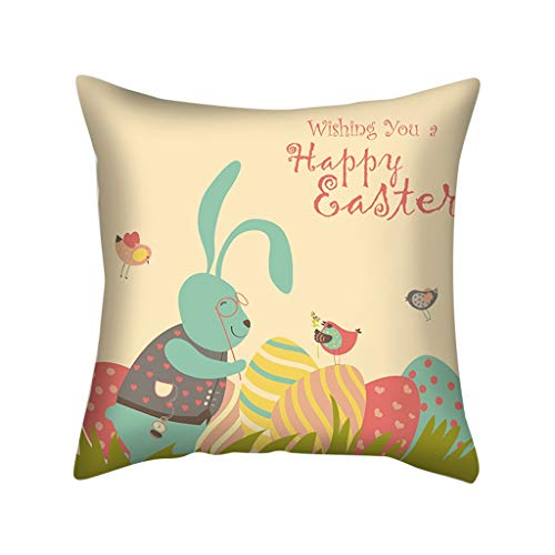Easter Pattern Cushion Geometric Print Soft Cushion Pillowcase Festive Atmospher, Pillow Case, for Easter Day (C)