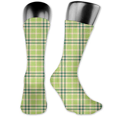 "Ingpopol Medium long Crew Socks,Plaid,Composition of Geometric Shapes Classical Tartan Illustration,Unisex 15.7"",Beige Fruits Green Hunter Green"