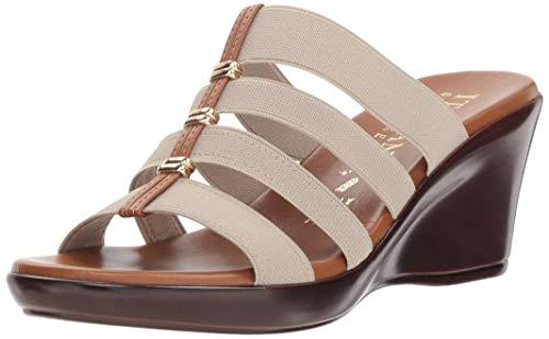 Italian Shoemakers Women's Clover Wedge Sandal, Stone, 10 M US