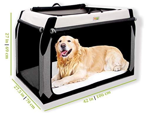 Folding Soft Dog Crate for XL Extra Large Dogs by DogGoods Indoor Outdoor Dog Kennels and Crates and Collapsible Dog Crate for Camping Car Roadtrips Extra Large Dogs Large Dogs Medium Dogs Small Dogs