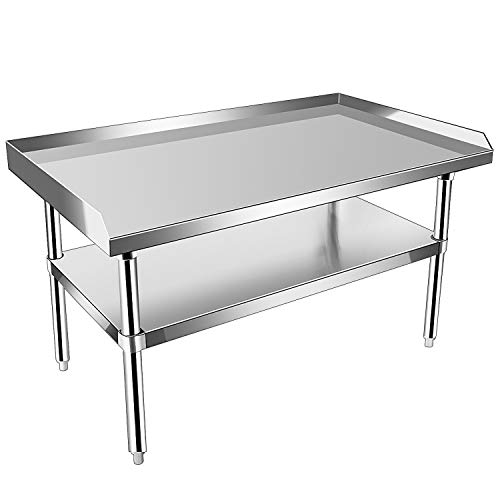 KITMA Stainless Steel Equipment Grill Stand with Undershelf for Restaurant - Heavy Duty Griddle Stand Table - 36x28 Inches
