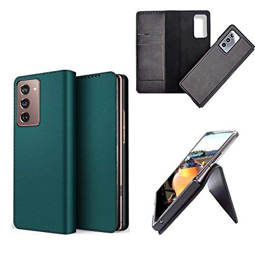 hodudu Funda de piel con función de cartera, a prueba de golpes, plegable, anticaídas, compatible con Samsung Galaxy Z Fold 2 5G (verde)