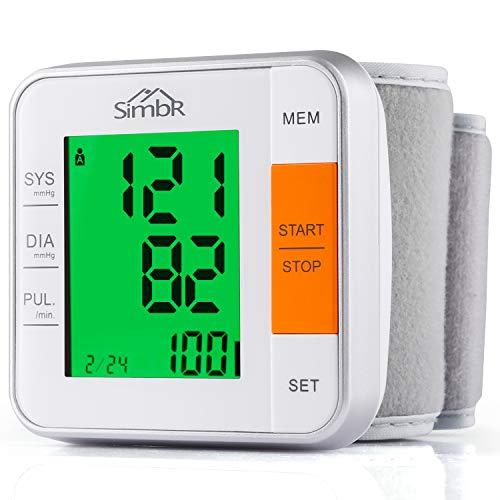 SIMBR Tensiómetro de muñeca Monitor de presión arterial Alta precisión y fiabilidad Gran pantalla LCD con Memoria (2 * 120) para 2 Usuarios