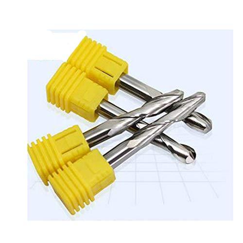 Nariz 1pc 6MM dos bolas flautas Fin Fin fresadora CNC Fresa Para Arcylic de pvc mdf de madera duro y así sucesivamente 3D superficie de mecanizado 6x6x12