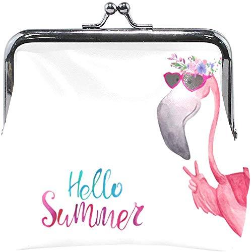 Hola Verano Divertido Flamingo Gafas de Sol Monedero Monedero Bolsa Monedero Lindo Bolsa de Cambio Retro Monedero pequeño Monedero Tarjetas Titular