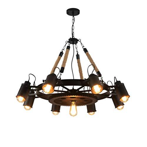 Metal Vintage Gran Sputnik Lámpara de Araña,Acero Inoxidable Ajustable Fijación de La Luz del Techo Candelabro Colgante,Rústico Durante La Lámpara-Negro 9t