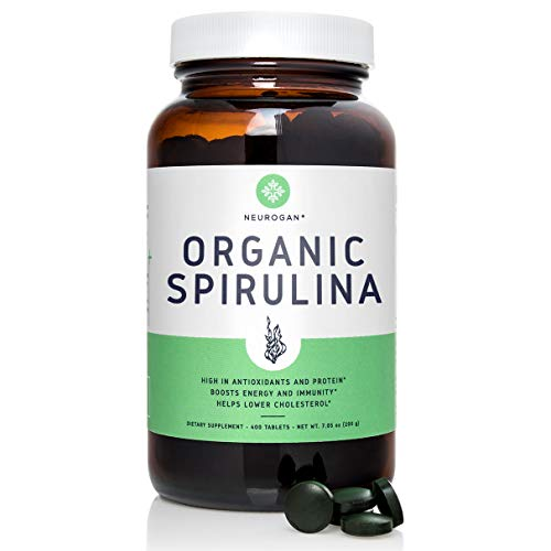 Neurogan Organic Spirulina Tablets - 500mg, 400 Count - Best Green Superfood Packed with Vegan Protein, Amino Acids, Vitamins, Minerals, Chlorophyll & Fiber - Non-Irradiated, Non-GMO, Gluten Free