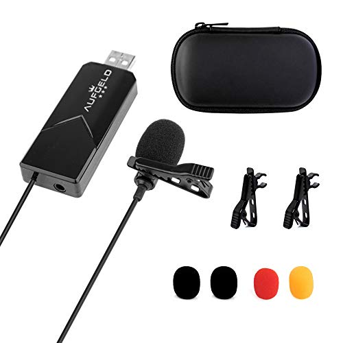 Aufgeld USB Lavalier Omnidirectional Lapel Microphone Clip-on Cardioid Condenser Computer Mic Plug and Play with Sound Card for PC Mac Laptop iMac