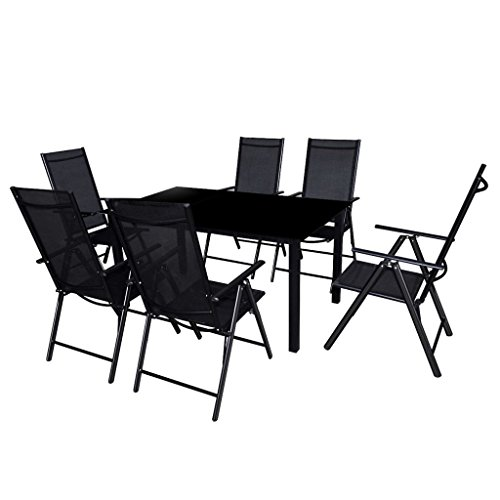 vidaXL Seven Piece Outdoor Garden Dining Set Table and Chairs Furniture Aluminium Black
