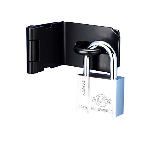 Wanlian Scheunentorschloss 90 Grad rechtwinklig gebogener Türschlossbolzen Schiebetürschloss spezielle Türschlossschnalle und Vorhängeschloss (Schwarz)