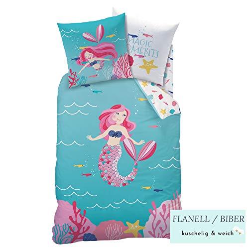 Meerjungfrau Mädchen Biber Bettwäsche · Kinderbettwäsche · Mermaid Magic Moments · Kuschelige Winterbettwäsche mit Wende Motiv - Kissenbezug 80x80 + Bettbezug 135x200 cm - 100% Baumwolle