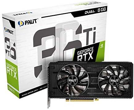 Palit RTX 3060 Ti Dual 8G GDDR6 Ray-Tracing Graphics Card, 4864 Core, 1410MHz GPU, 1665MHz Boost, 3X DisplayPort, HDMI