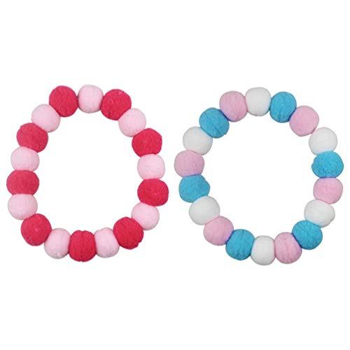 Balacoo 2Pcs Pom Pom Dog Collar Elastic Cat Collar Plush Ball Necklace Festival Birthday Gift for Kitty Kitten Puppy Pink Blue