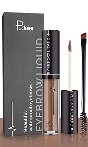 Waterproof Eyebrow Gel, Long Lasting Smudge-Proof Liquid Brow Makeup Tint, Brow Shaper with Mascara Primer Brush Wand Kit, Mother's Day Gift(Color Brown)