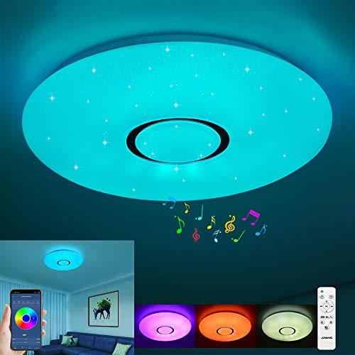 Lámpara LED de techo con mando a distancia, regulable, 24 W, cielo estrellado, cambio de color RGB, blanco cálido/blanco frío, IP44, resistente al agua