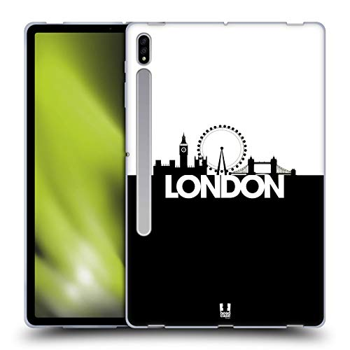 Head Case Designs London Black And White Skyline S3 Soft Gel Case Compatible for Galaxy Tab S7+ / Tab S7 Plus