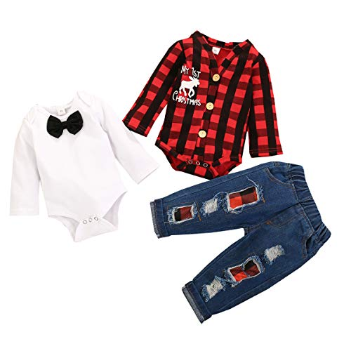 Baby Boy My First Christmas Clothes Long Sleeve Red Plaid and White Gentle Romper Top and Pant 3Pcs Outfit Sets