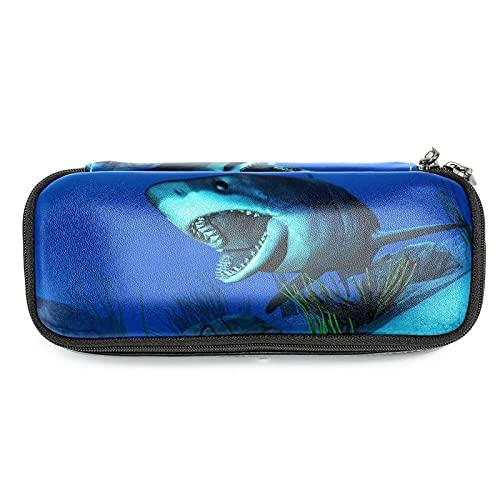Estuche de Lápices infantil Tiburón, submarino Estuche escolar Cuero impermeable Bolsa de lápiz Organizador de papelería para niña 19x7.5x3.8cm