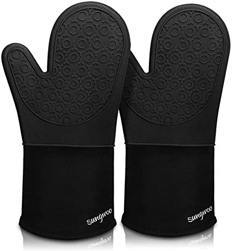 Sungwoo Silicone Oven Mitts Durable Heat Resistant Oven Gloves with Quilted Liner Non Slip Textured product image