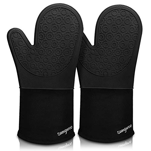 Silicone Oven Mitts, Durable sungwoo Heat Resistant Oven Gloves with Quilted Liner Non-Slip Textured Grip Perfect for BBQ, Baking, Cooking and Grilling - 1 Pair 13.8 Inch Black