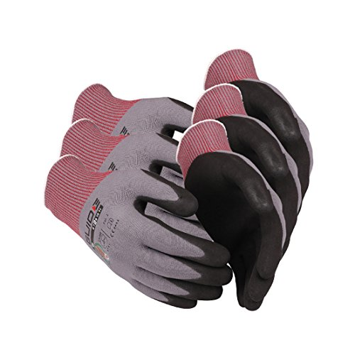 3 x Guide 580 Schutzhandschuhe aus nahtlosem Nylon-Garn (3-Faden-Technik), schwarz-grau, mit Handschuhberater, 3 Paar-7