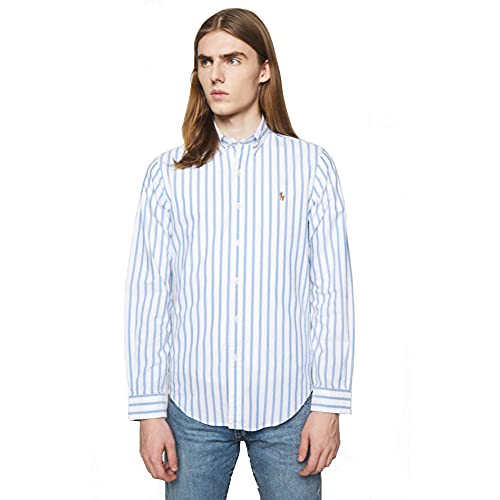 Polo Ralph Lauren Camicia Oxford Slim-Fit a Righe (M, Blue/White)