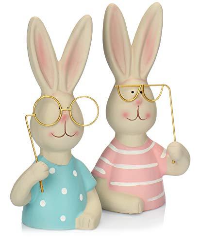 com-four® 2X Figuras de decoración Conejito, Conejito de Pascua Hecho de cerámica en 2 Colores, con Grandes Vasos, Gran decoración [la selección varía] (2 Piezas - Conejito de Pascua - Rosa Azul)