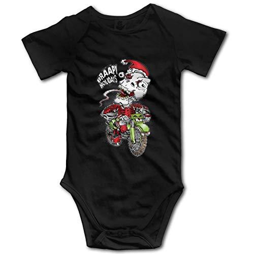 Promini Mono de algodón de manga corta con diseño de calavera Santa Moto para bebé, 12-18 meses, ZI10902